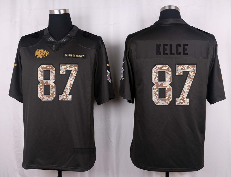 Kansas City Chiefs 87 Kelce 2016 Nike Anthracite Salute to Service Limited Jersey