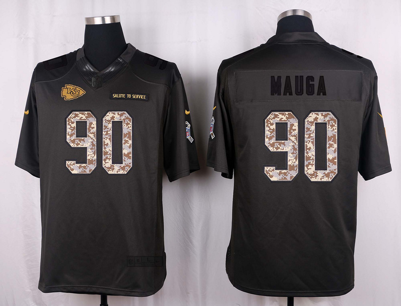 Kansas City Chiefs 90 Mauga 2016 Nike Anthracite Salute to Service Limited Jersey