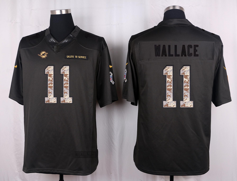 Miami Dolphins 11 Wallace 2016 Nike Anthracite Salute to Service Limited Jersey