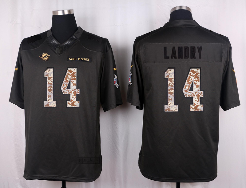 Miami Dolphins 14 Landry 2016 Nike Anthracite Salute to Service Limited Jersey
