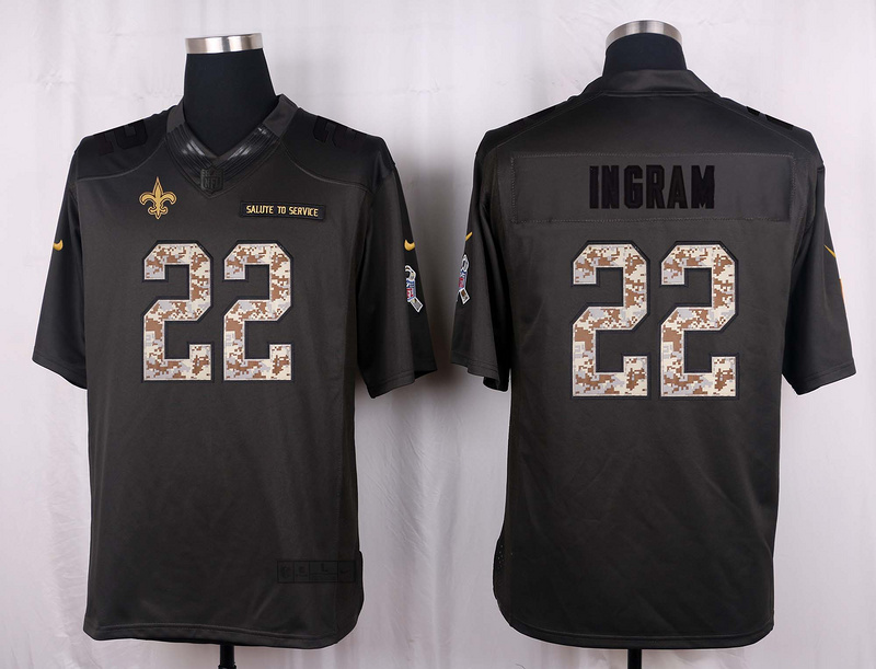 New Orleans Saints 22 Ingram 2016 Nike Anthracite Salute to Service Limited Jersey