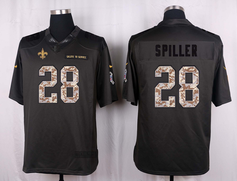 New Orleans Saints 28 Spiller 2016 Nike Anthracite Salute to Service Limited Jersey