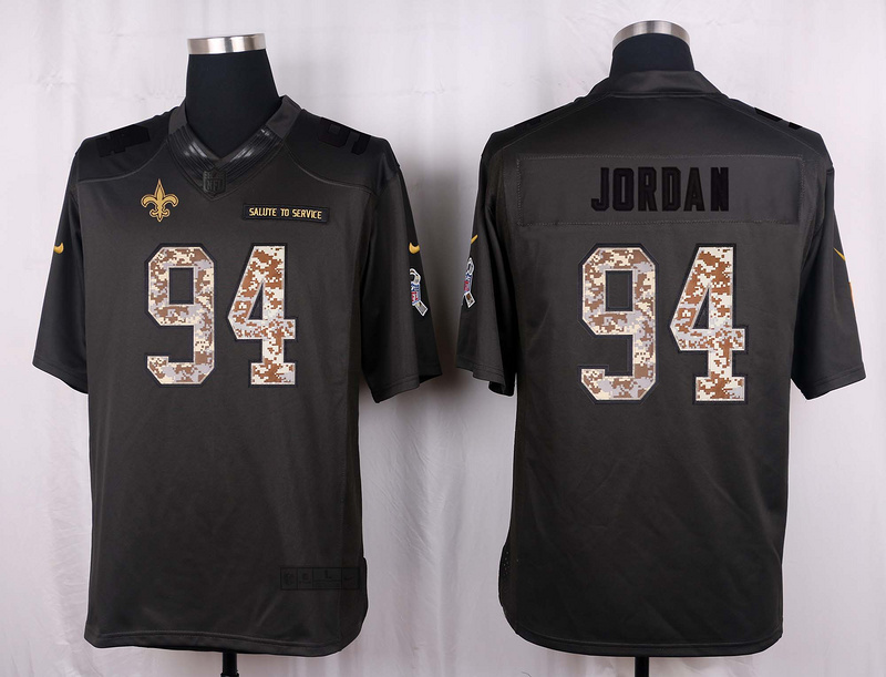 New Orleans Saints 94 Jordan 2016 Nike Anthracite Salute to Service Limited Jersey