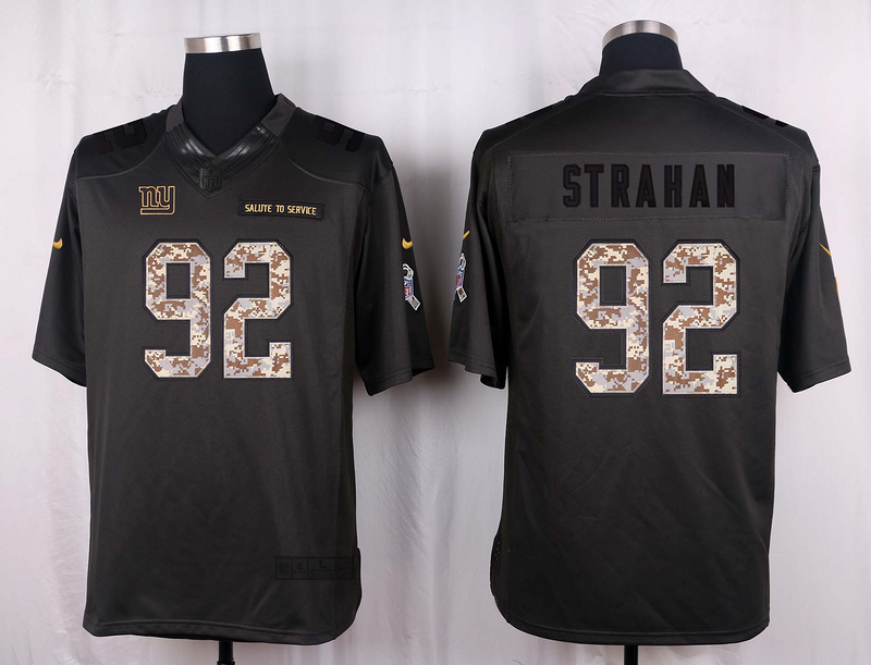 New York Giants 92 Strahan 2016 Nike Anthracite Salute to Service Limited Jersey