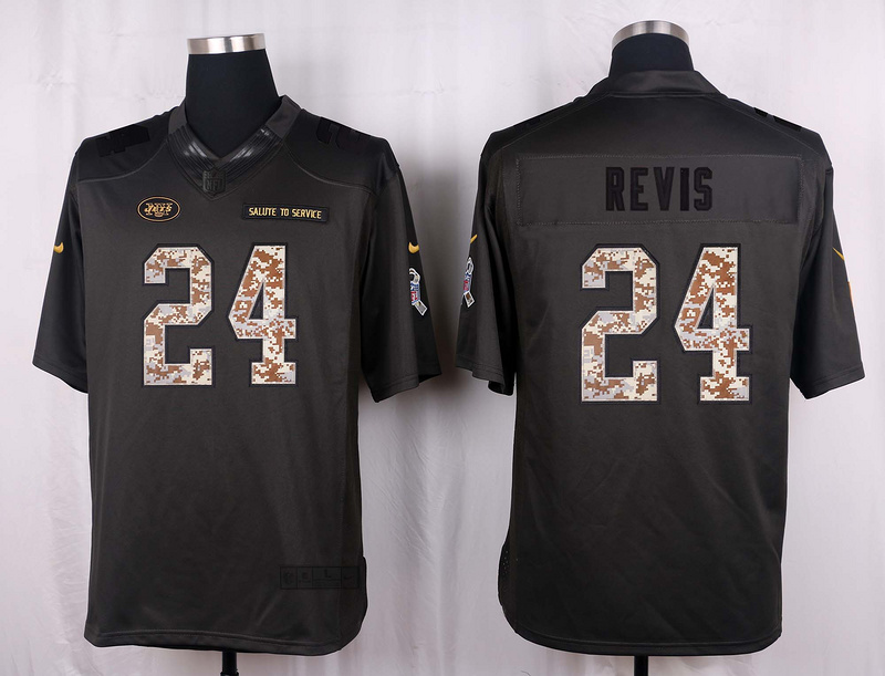New York Jets 24 Revis 2016 Nike Anthracite Salute to Service Limited Jersey