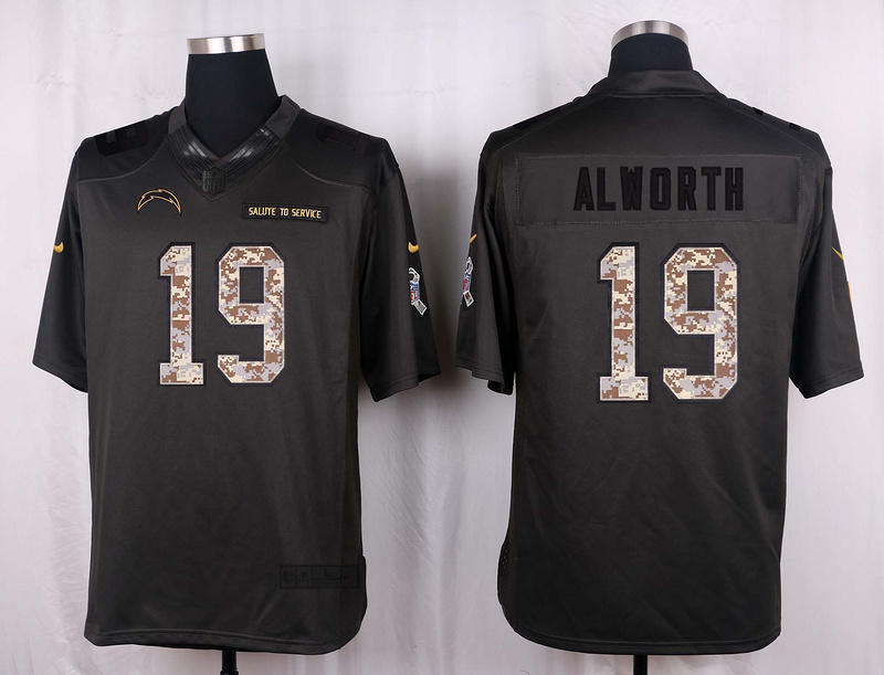 San Diego Chargers 19 Alworth 2016 Nike Anthracite Salute to Service Limited Jersey