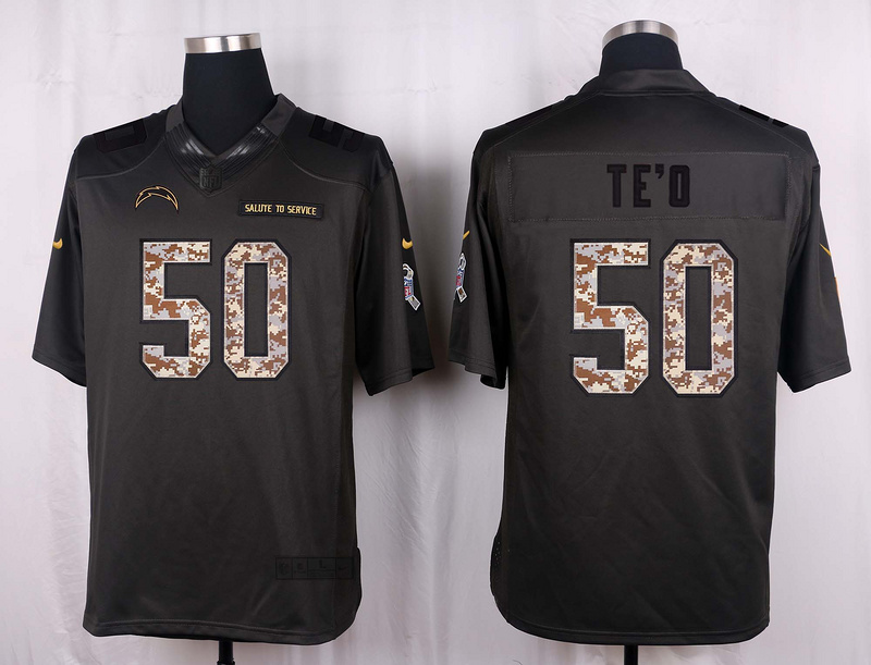 San Diego Chargers 50 TE'O 2016 Nike Anthracite Salute to Service Limited Jersey