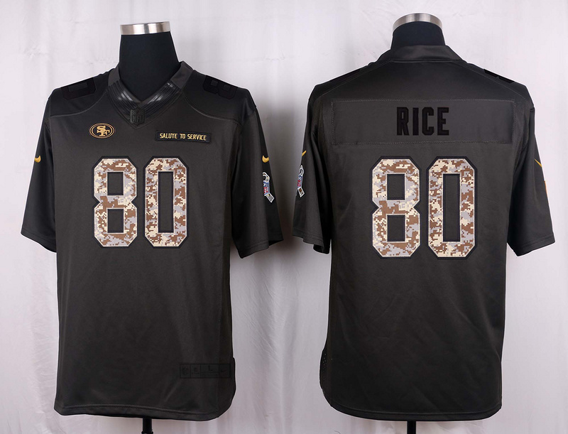 San Francisco 49ers 80 Rice 2016 Nike Anthracite Salute to Service Limited Jersey