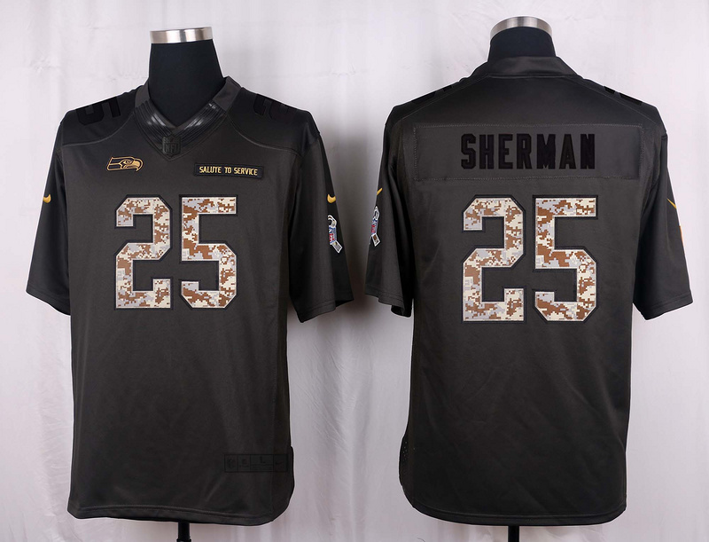 Seattle Seahawks 25 Sherman 2016 Nike Anthracite Salute to Service Limited Jersey