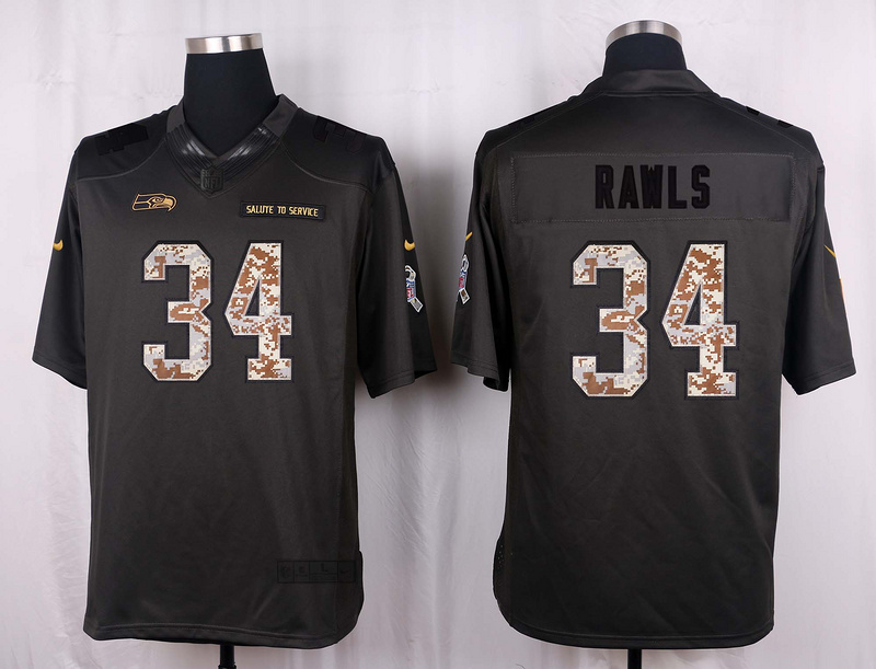 Seattle Seahawks 34 Rawls 2016 Nike Anthracite Salute to Service Limited Jersey