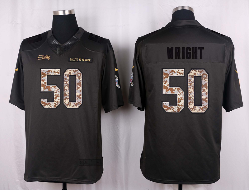 Seattle Seahawks 50 Wright 2016 Nike Anthracite Salute to Service Limited Jersey
