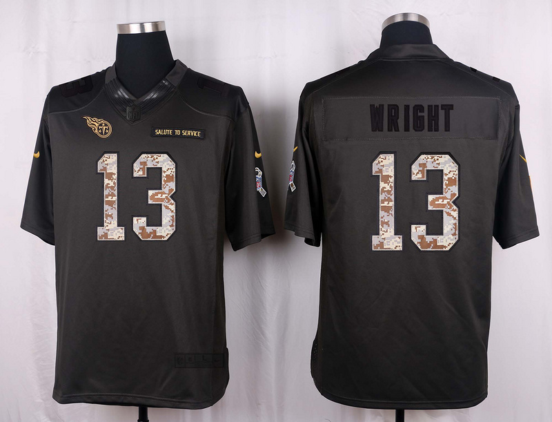 Tennessee Titans 13 Wright 2016 Nike Anthracite Salute to Service Limited Jersey
