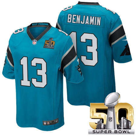 Mens Carolina Panthers 13 Kelvin Benjamin Blue 2016 Super Bowl 50 Game Jerseys