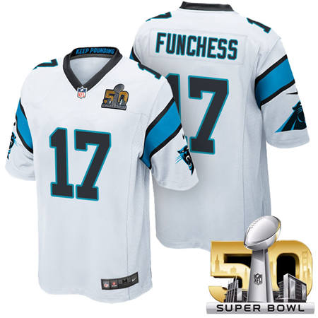 Mens Carolina Panthers 17 Devin Funchess White 2016 Super Bowl 50 Game Jerseys