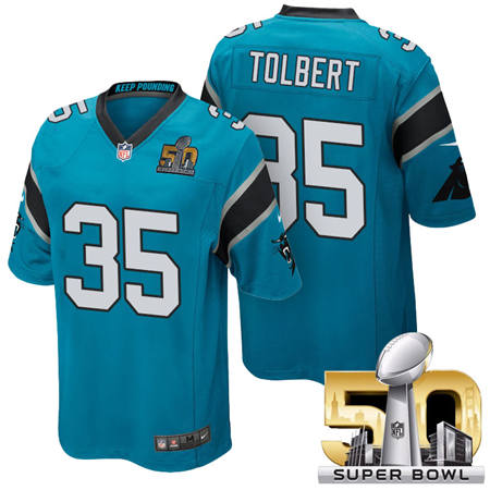 Mens Carolina Panthers 35 Mike Tolbert Blue 2016 Super Bowl 50 Game Jerseys
