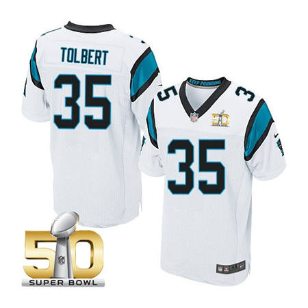 Mens Carolina Panthers 35 Mike Tolbert White 2016 Super Bowl 50 Bound Elite Jerseys