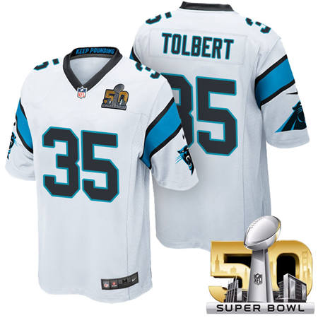Mens Carolina Panthers 35 Mike Tolbert White 2016 Super Bowl 50 Game Jerseys