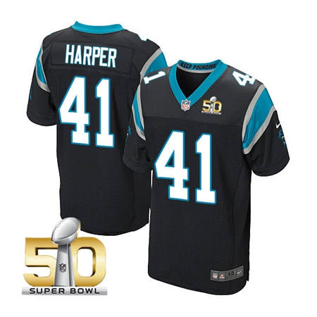 Mens Carolina Panthers 41 Roman Harper Black 2016 Super Bowl 50 Elite Jerseys