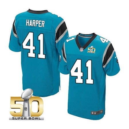 Mens Carolina Panthers 41 Roman Harper Blue 2016 Super Bowl 50 Elite Jerseys