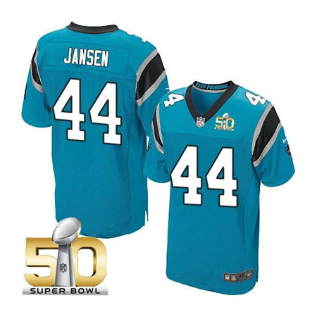 Mens Carolina Panthers 44 JJ Jansen Blue 2016 Super Bowl 50 Bound Elite Jerseys