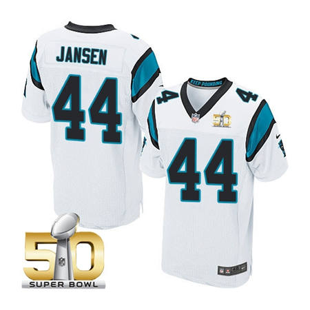 Mens Carolina Panthers 44 JJ Jansen White 2016 Super Bowl 50 Bound Elite Jerseys