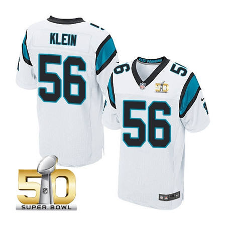 Mens Carolina Panthers 56 A.J. Klein White 2016 Super Bowl 50 Elite Jerseys