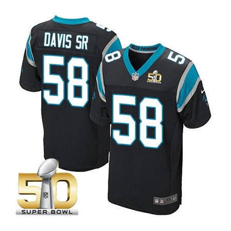 Mens Carolina Panthers 58 Thomas Davis Black 2016 Super Bowl 50 Bound Elite Jerseys