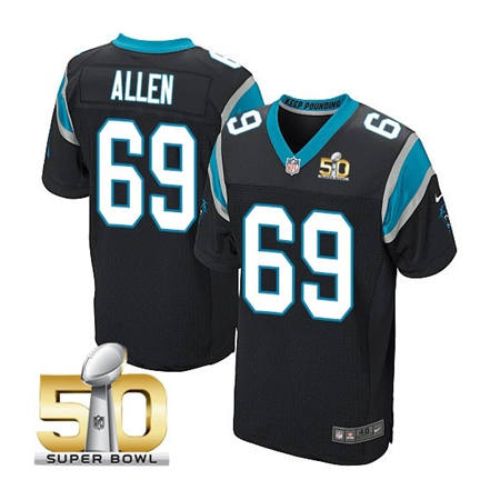 Mens Carolina Panthers 69 Jared Allen Black 2016 Super Bowl 50 Bound Elite Jerseys