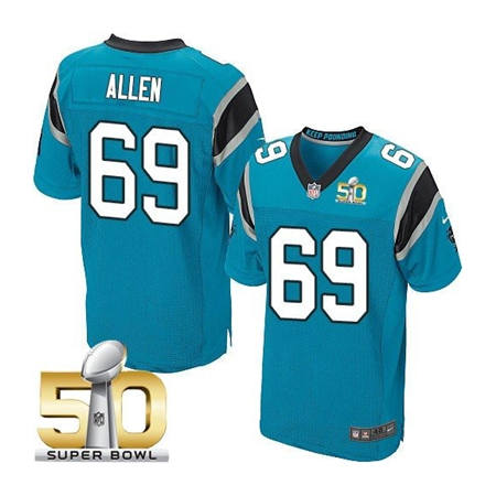 Mens Carolina Panthers 69 Jared Allen Blue 2016 Super Bowl 50 Bound Elite Jerseys