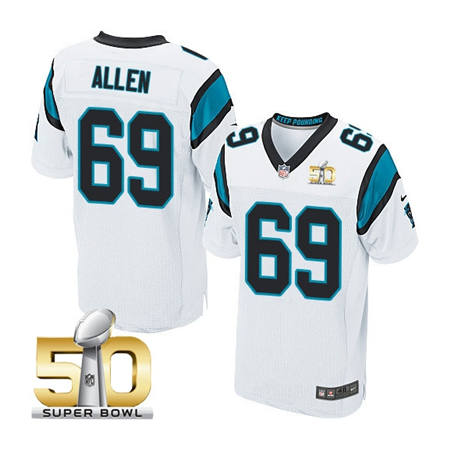 Mens Carolina Panthers 69 Jared Allen White 2016 Super Bowl 50 Bound Elite Jerseys