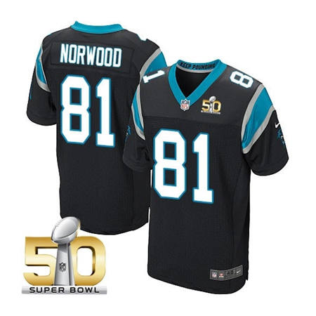 Mens Carolina Panthers 81 Kevin Norwood Black 2016 Super Bowl 50 Bound Elite Jerseys