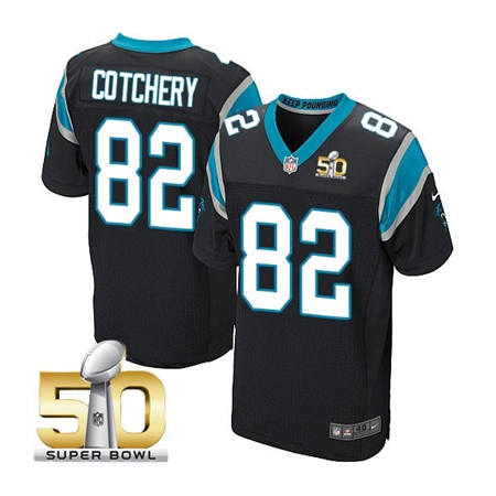 Mens Carolina Panthers 82 Jerricho Cotchery Black 2016 Super Bowl 50 Bound Jerseys