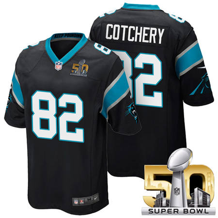 Mens Carolina Panthers 82 Jerricho Cotchery Black 2016 Super Bowl 50 Game Jerseys