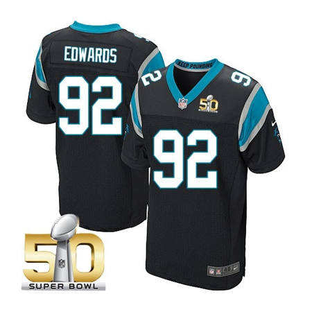 Mens Carolina Panthers 92 Dwan Edwards Black 2016 Super Bowl 50 Bound Elite Jerseys