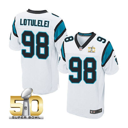 Mens Carolina Panthers 98 Star Lotulelei White 2016 Super Bowl 50 Bound Elite Jerseys