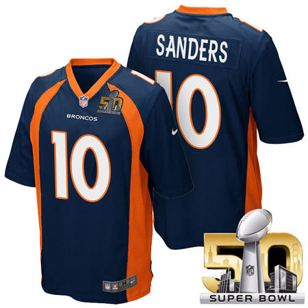 Mens Denver Broncos 10 Emmanuel Sanders Blue 2016 Super Bowl 50 Game Stitced NFL Jerseys