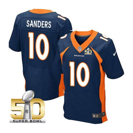 Mens Denver Broncos 10 Emmanuel Sanders Navy 2016 Super Bowl 50 Elite Stitced NFL Jerseys