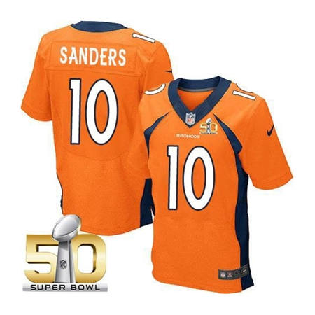 Mens Denver Broncos 10 Emmanuel Sanders Orange 2016 Super Bowl 50 Elite Stitced NFL Jerseys
