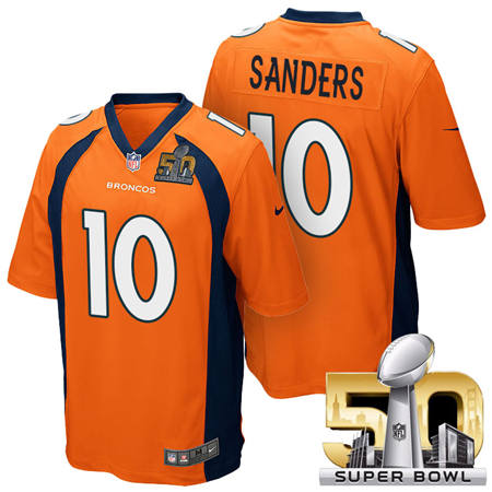 Mens Denver Broncos 10 Emmanuel Sanders Orange 2016 Super Bowl 50 Game Stitced NFL Jerseys