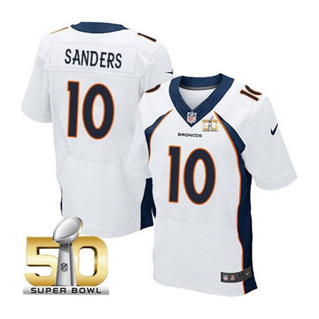 Mens Denver Broncos 10 Emmanuel Sanders White 2016 Super Bowl 50 Elite Stitced NFL Jerseys