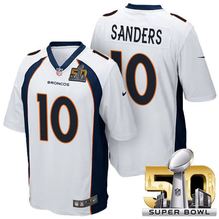 Mens Denver Broncos 10 Emmanuel Sanders White 2016 Super Bowl 50 Game Stitced NFL Jerseys