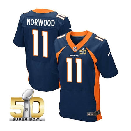 Mens Denver Broncos 11 Jordan Norwood Navy 2016 Super Bowl 50 Elite Stitced NFL Jerseys