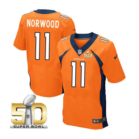 Mens Denver Broncos 11 Jordan Norwood Orange 2016 Super Bowl 50 Elite Stitced NFL Jerseys