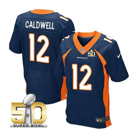 Mens Denver Broncos 12 Andre Caldwell Navy 2016 Super Bowl 50 Elite Stitced NFL Jerseys