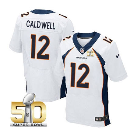 Mens Denver Broncos 12 Andre Caldwell White 2016 Super Bowl 50 Elite Stitced NFL Jerseys