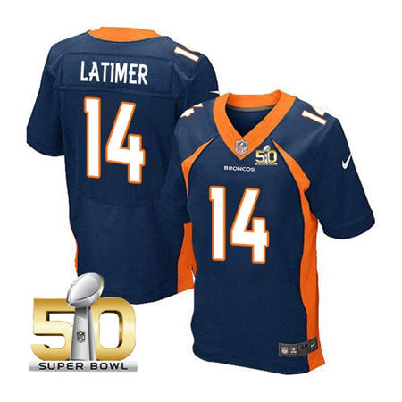 Mens Denver Broncos 14 Cody Latimer Navy 2016 Super Bowl 50 Elite Stitced NFL Jerseys