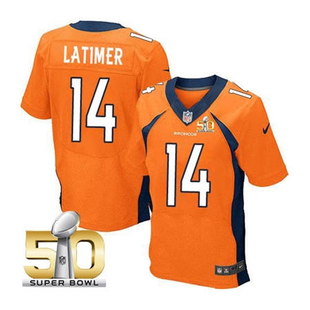 Mens Denver Broncos 14 Cody Latimer Orange 2016 Super Bowl 50 Elite Stitced NFL Jerseys