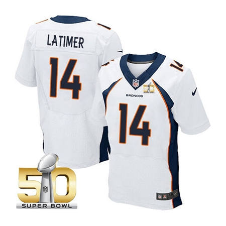 Mens Denver Broncos 14 Cody Latimer White 2016 Super Bowl 50 Elite Stitced NFL Jerseys