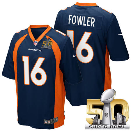 Mens Denver Broncos 16 Bennie Fowler Blue 2016 Super Bowl 50 Game Stitced NFL Jerseys