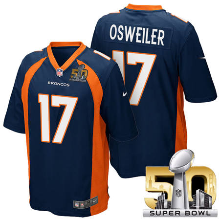 Mens Denver Broncos 17 Brock Osweiler Blue 2016 Super Bowl 50 Game Stitced NFL Jerseys